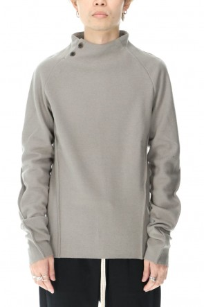 individual sentiments 20-21AW Wool Cashmere Medium Jersey Bottle Neck T-Shirts Beige Gray