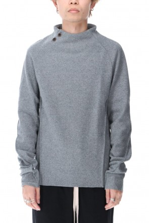 individual sentiments 20-21AW Wool Cashmere Medium Jersey Bottle Neck T-Shirts Light Gray