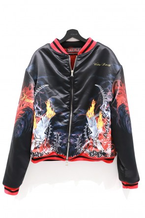 CAVIALE 20-21AW PRINTED SILK BOMBER FUR LINED