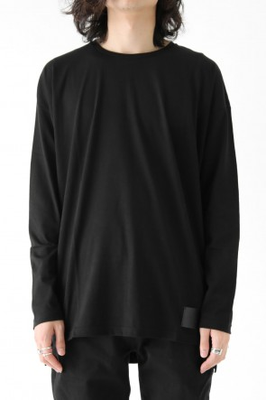 Leather Patch Long Sleeve Loose T-Shirt Black
