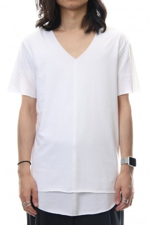 ASKyy 18-19AW Layered Cutsew V-neck - White