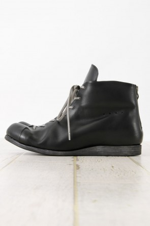 Back Zip Combat Shoes calf leather