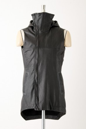 Sheep Leather Sleeveless Hooded Jacket