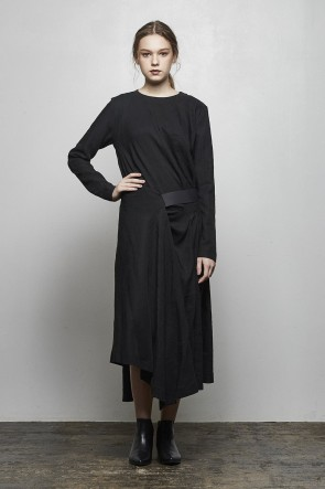 divka 18-19AW Rayon Linen Wool Cloth Dress - DK14-02-D04-Black