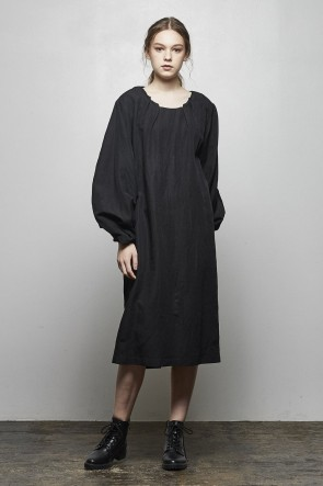divka 18-19AW Rayon Linen Wool Cloth Tunic - DK14-02-O01-Black