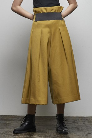 divka18-19AW2/47 Off Scale Wool Culotte Pants - DK14-09-P04-Olive