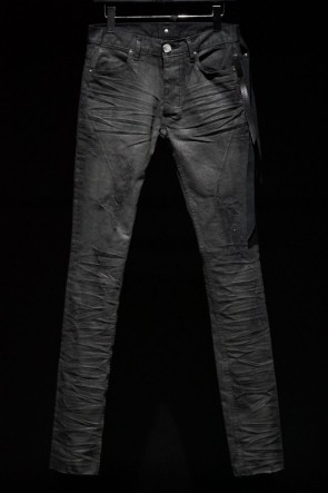 16AW SEIGEKI-青激- by FAGASSENT Black distressed wax coating denim