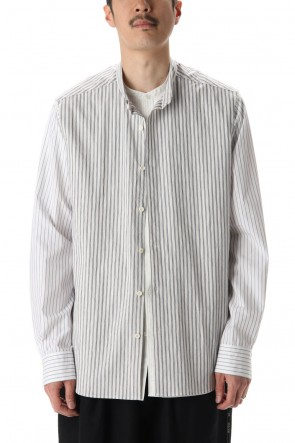 DUELLUM 20-21AW Linen Stripe Paneled Shirt  White / White Stripe