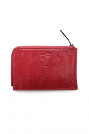 Discord Yohji Yamamoto 18-19AW Antique leather compact wallet - Red - DV-A07-703