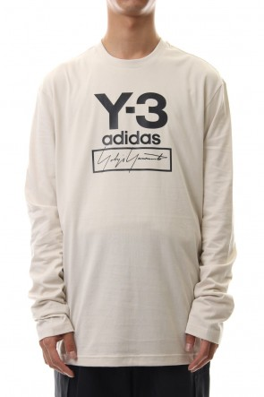 Y-3 19-20AW Stacked Logo Long Sleeve Tee Ecru