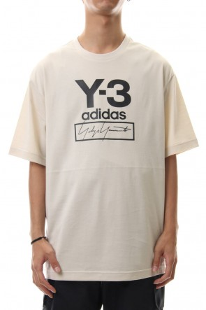 Y-3 19-20AW Stacked Logo Short Sleeve Tee Ecru