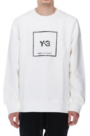 Y-3 21SS Square label Graphic Crew Sweatshirt Core White