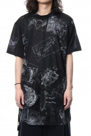 Ground Y 18SS Uneven short sleeve Cut-Sew Ghost In The Shell - Ground Y