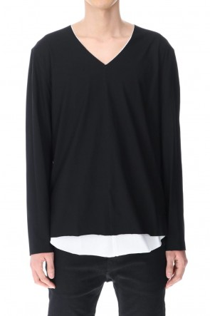ASKyy 20-21AW Layered Cutsew 4TH (V-Neck) Black/White