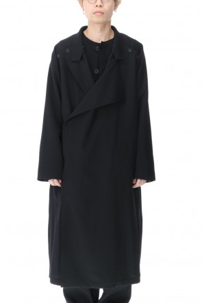 Yohji Yamamoto 21SS Double Parts Button closure Wrinkle gabardine Dress