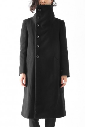 Wool Nylon Melton High Neck Long Coat