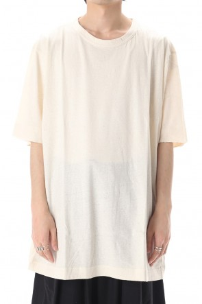 Yohji Yamamoto 20SS Old cotton Top stitch Cut off Round neck Short sleeve T-shirt Ivory