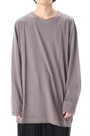 Yohji Yamamoto 20SS Old cotton Top stitch Cut off Round neck Long sleeve T-shirt Gray