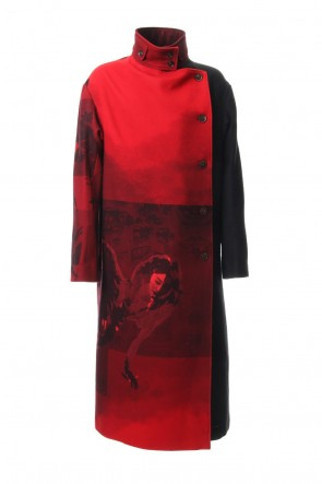 Yohji Yamamoto 18-19AW Red flannel right front dress coat