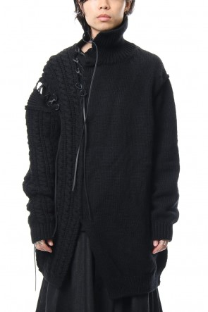 Yohji Yamamoto 18-19AW Leather Lace Seam Grafting Turtleneck Knit