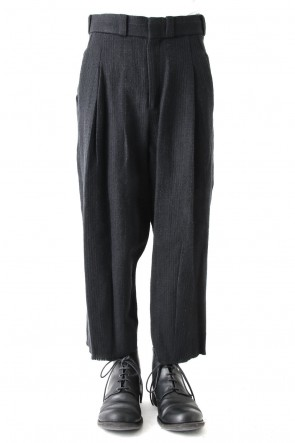 Cropped Pants Silk Linen Wool Stripe