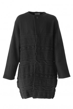 Yohji Yamamoto 17-18AW Switched Texture Pattern Collarless Knit Jacket