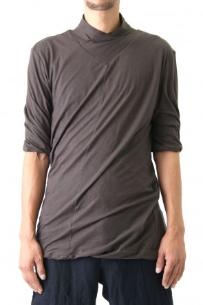 80/- Plain Stitch High Shawl Collar Twisted Half Sleeve T-Shirt