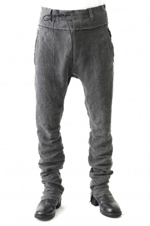 Sumi Dyed Linen Drop Crotch Skinny Pants