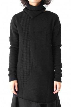by H New York 17-18AW Asymmetrical High Neck Full Fashioned Knit