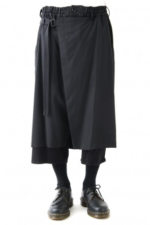 Ground Y 18SS Wrap Skirt Trousers Double Gabardine & Jersey Combination