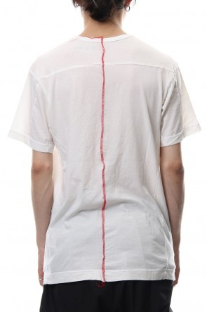 The Viridi-anne 18-19AW Product Dyeing Back Center Coloring Stitching Short Sleeve T White × Red