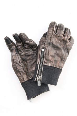 D.HYGEN 20-21AW Rusty dyed Horse leather Over lock gloves