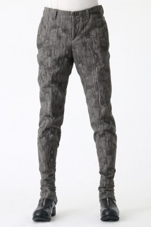 Back Zip Pants Jacquard Sumi Dyed