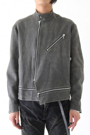 COATED GOAT SUEDE ATTACHED RIDERS JACKET
