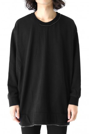 Pigment dyed zipperd loose pullover Black