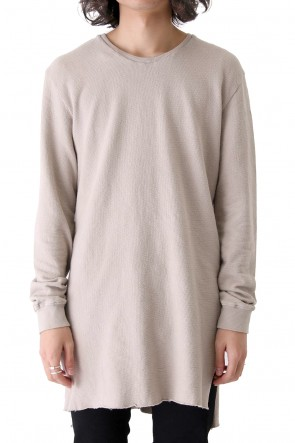 Pigment dyed long length T-shirt Greige