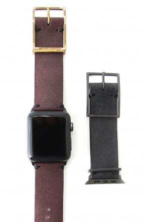 iolom Classic Apple Watch Band - Guidi Reverse Calf Leather Red - Brass Type 2