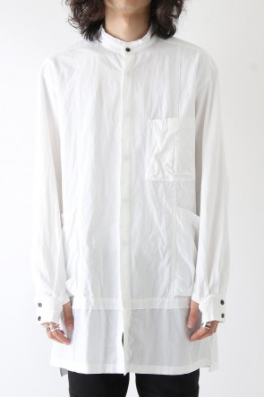 Cotton Linen Typewriter Cloth Long Shirt White
