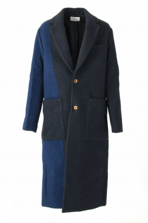 Song for the Mute 16-17AW SINGLE BREASTED OVERCOAT (ROYAL PIN STRIPE)