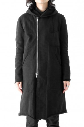 Loop Wheel Machine sewing Hooded Coat Black