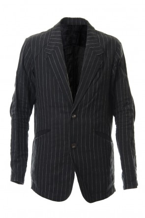 DEVOA 20SS Jacket Linen viscose stripe Black