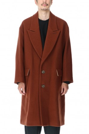 KAZUYUKI KUMAGAI 20-21AW Napping melton Peakd lapel Overcoat Brown
