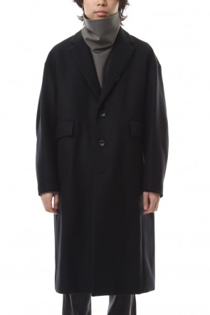 KAZUYUKI KUMAGAI 19-20AW Cashmere mixed double melton chester coat Black