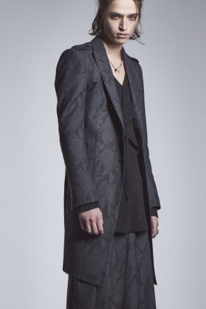 kiryuyrik 20-21AW Epaulet Long Jacket Black × Gray