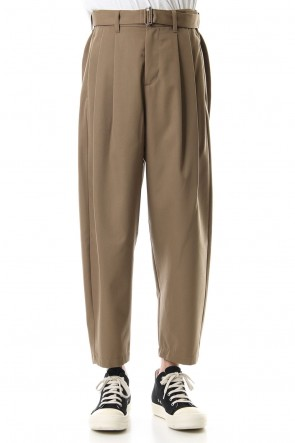KAZUYUKI KUMAGAI 19-20AW Flannerana high density gaba belted wide tapered pants Beige