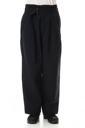 KAZUYUKI KUMAGAI 19-20AW W/C High count gabbardine belted high-waist wide pants Black