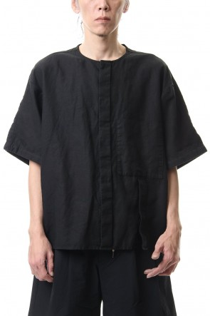 KAZUYUKI KUMAGAI 20SS 60/-high density herdmans Linen × 40/-Broad stretch no collar shirt Black