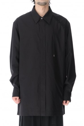 KAZUYUKI KUMAGAI 21SS Finx Broad cloth L/S Lace up Shirt Black