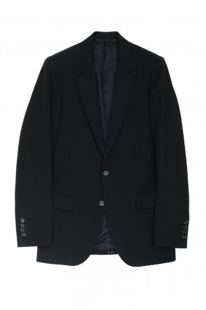 Super 120'S Ultra-Black Wool Notched Lapel Middle 2B-Jacket