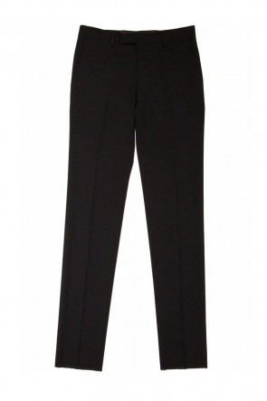Super 120's Ultra-Black Wool Trousers Straight